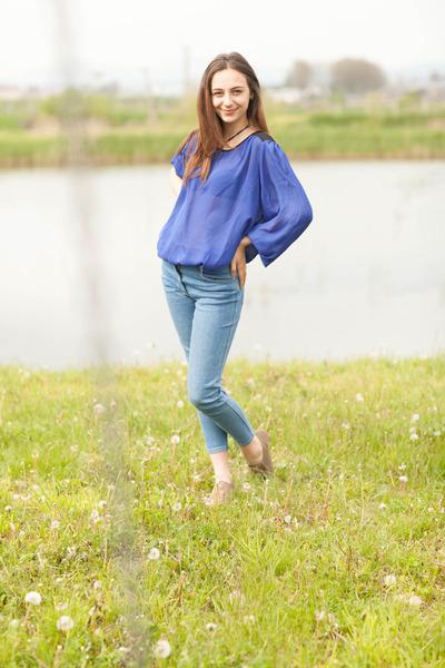 shoes - jeans - blue blouse - necklace