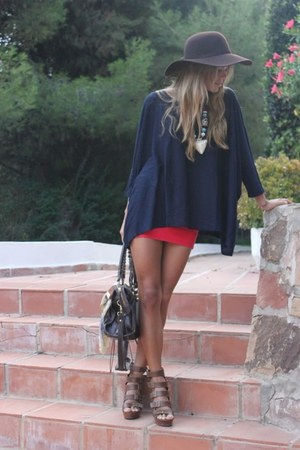 red skirt - brown hat - bag - heels