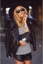 black hat - jacket - bag - shorts - sunglasses - blouse