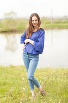 shoes - blue jeans - bluesoft blouse - necklace