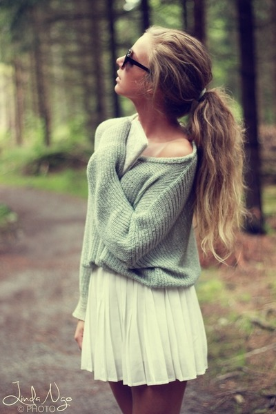 sweater - sunglasses - skirt