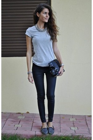 bag - grey t-shirt - black pants