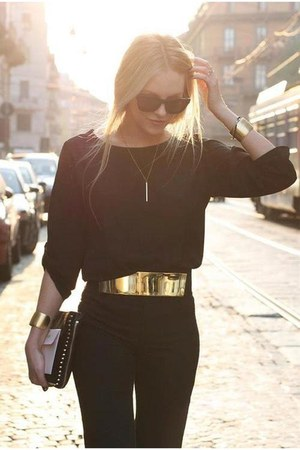 bag - sunglasses - blouse - pants - necklace - accessories