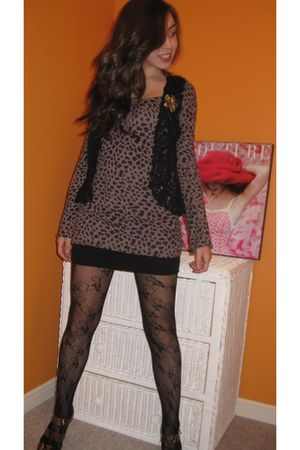 dress - black vest - black tights