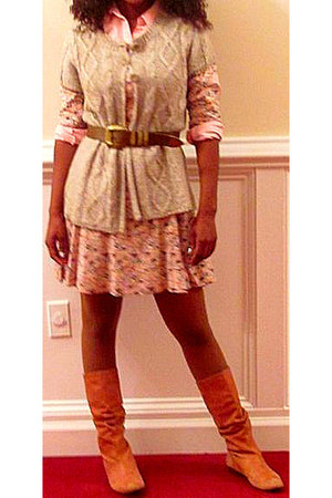 tawny boots - bubble gum floral dress - beige wool sweater - bubble gum collar A