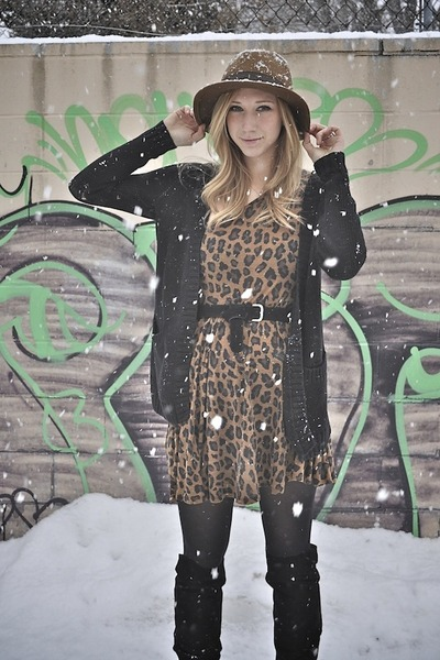 Black Suede Locale Boots, Brown Cheetah Print Zara Dresses, Light ...