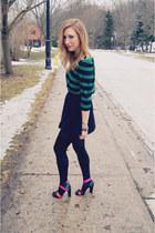 black Urban Outfitters skirt - teal Zara blouse - Zara heels