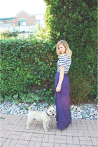 navy maxi Ark & Co skirt - navy stripes Urban Outfitters t-shirt