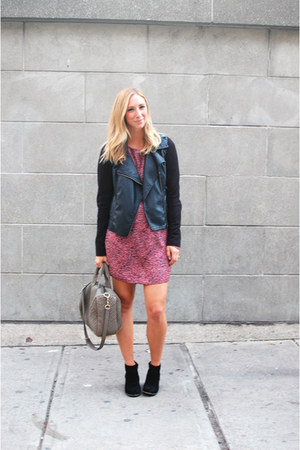 black Forever 21 jacket - black Dolce Vita boots - pink Elizabeth & James dress