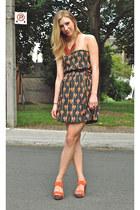 black strapless Urban Outfitters dress - coral Mrkt heels - burnt orange beaded