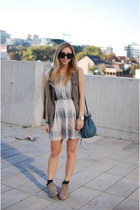 silver plaid Forever 21 dress - tan suede Dolce Vita boots