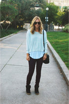 white Zara t-shirt - deep purple Rag and Bone jeans - light blue Aritzia sweater