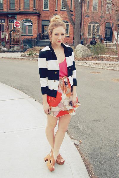 black stripes H&M blazer - hot pink silk Aritzia blouse - coral silk Anthropolog
