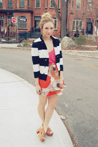 black stripes H&M blazer - hot pink silk Aritzia blouse - coral silk Anthropolog