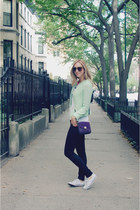 black Nudie Jeans jeans - lime green Zara blazer - purple Heys purse