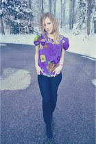 navy denim James Jeans jeans - violet silk Tibi blouse