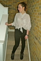 black studded Office boots - ivory linen Giorgio Armani shirt