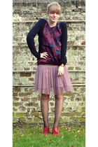 black Kookai cardigan - purple top - pink School Rag skirt - black tights - red