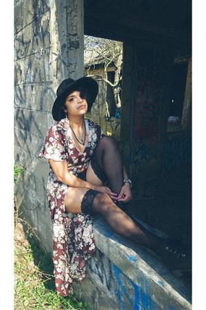 DeadGypsie necklace - Steve Madden boots - black Billabong hat - H&M tights
