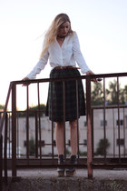 forest green Choies skirt - white pocket shirt Vila shirt