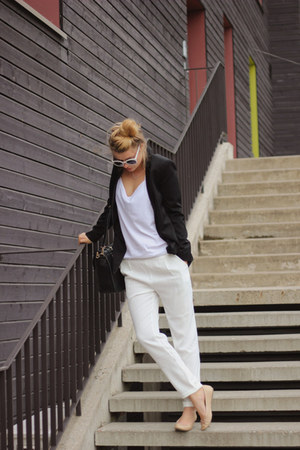 white trousers PERSUNMALL panties - black classic blazer Zara blazer