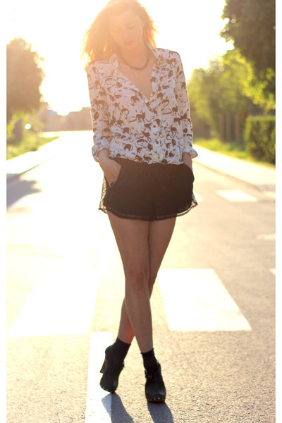 white blackfive shirt - black lace shorts - black vintage clogs