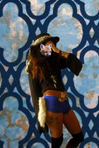black vintage blouse - blue American Apparel shorts - brown vintage belt - black