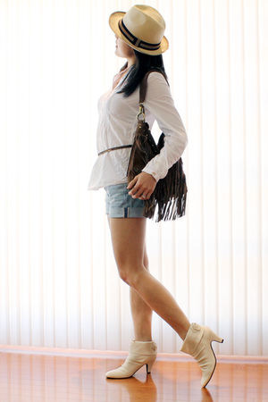 white H&M blouse - blue H&M shorts - white sugarplumshoes shoes - brown Aldo pur