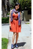 orange modcloth dress - blue H&M scarf - sugarplumshoes shoes