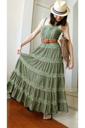 green dress - brown belt