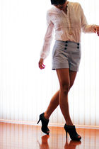 white H&M blouse - blue H&M shorts - blue sugarplumshoescom shoes
