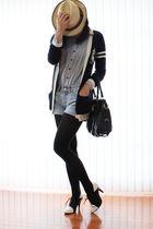 blue preppy ingni cardigan - black sugarplumshoes shoes - denim H&M shorts