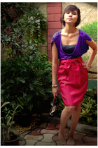 purple Forever 21 top - red cut-and-paste skirt