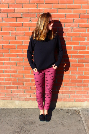 black sweater - maroon asos jeans - black Aldo loafers