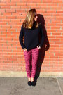 Maroon-asos-jeans-black-sweater-black-aldo-loafers