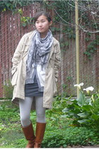 gray H&M scarf - American Apparel dress - white thrifted cardigan - black Juicy