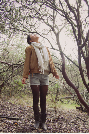brown vintage jacket - beige vintage sweater - gray H&M shorts - black DKNY tigh