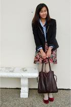beige cable knit tights - red velvet shoes - black diy blazer - blue Jcrew shirt