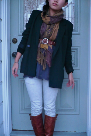 black emporio armani blazer - gray lulu lame top - silver J Brand jeans - brown