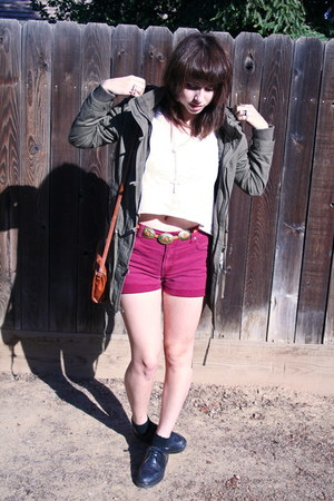 hot pink vintage shorts - black doc martens shoes