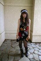 dark brown military Forever 21 boots - black altered floral dress - black polka