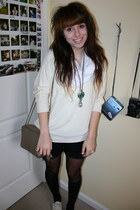 ivory oversized Forever 21 sweater - black polka-dot Target tights - white circl