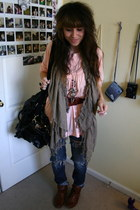 burnt orange pleather Forever 21 boots - navy ripped BDG jeans - camel ruffle Fo
