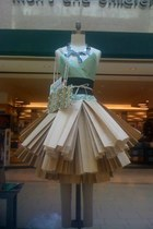 aquamarine tissue paper top - black mesh bags belt - tan paper bags skirt