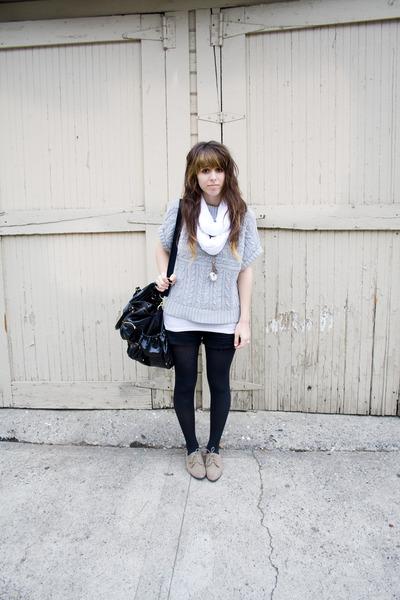 beige oxford slight Forever 21 heels - silver moms knit Express sweater