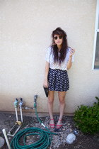 white polka dot Forever 21 shirt - black clutch thrifted purse - navy polka dot
