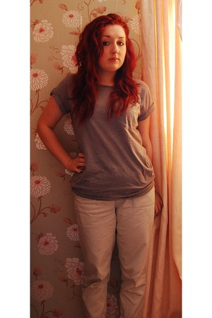 heather gray Topshop t-shirt - beige Urban Outfitters pants
