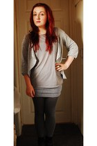 silver urban outfitter cardigan - heather gray Topshop t-shirt - ivory Urban Out