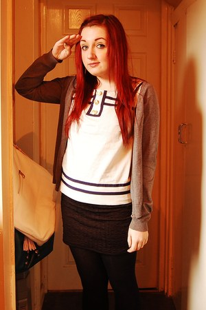 white Topshop shirt - heather gray H&M cardigan - black Primark skirt