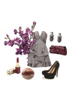 heather gray dress - black heels - puce bag - silver earrings - brick red
